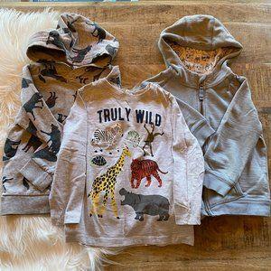 H&M & Genuine Kids Animal Hoodie & Shirt Bundle 4T